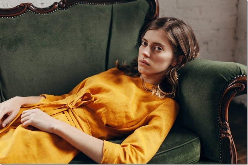 mustard-yellow-mini-linen-dress