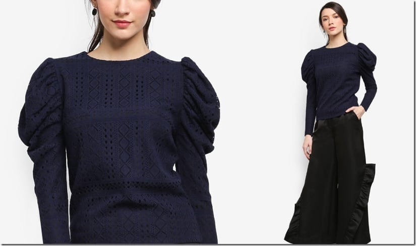 navy-gigot-sleeve-blouse