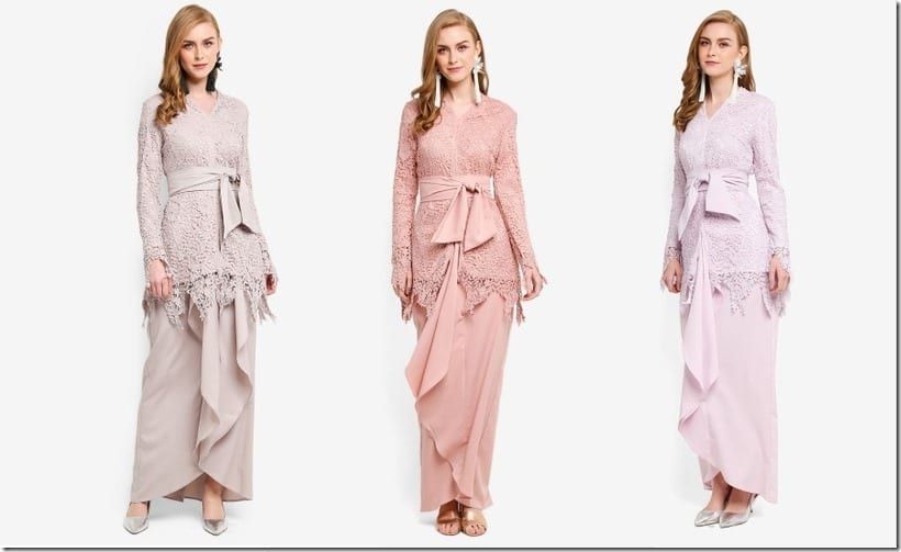 Baju Raya 2018 Inspo ~ Pastel Lace Kebaya With Fitted Sleeves