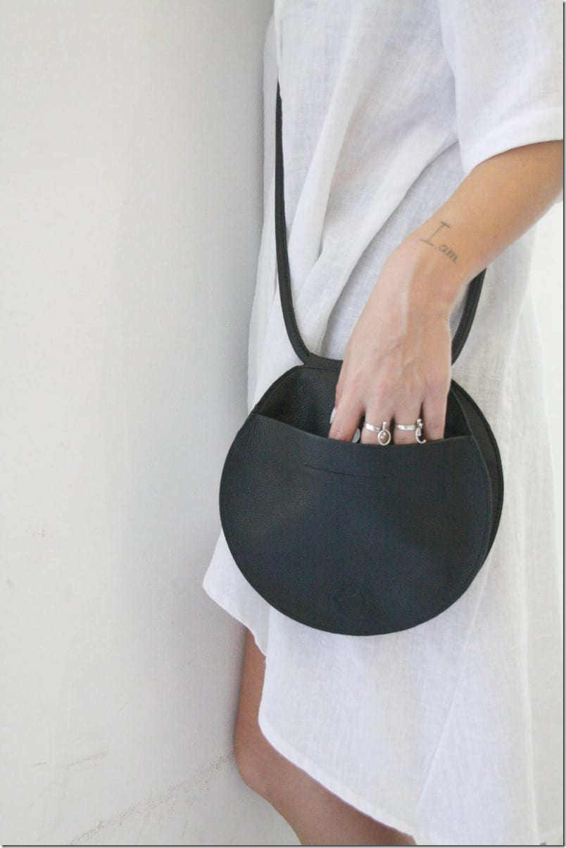round-black-leather-bag