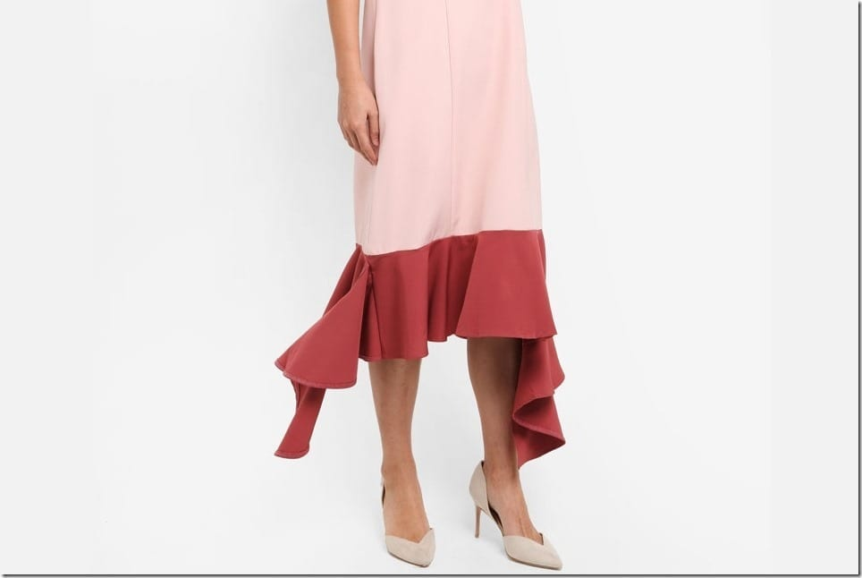 Summer Midi Dress With Uneven Dangling Hemline
