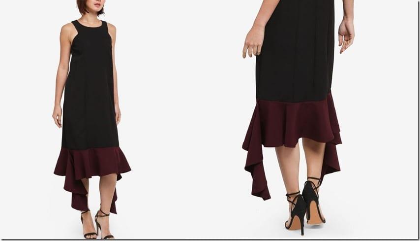 black-uneven-hem-midi-dress