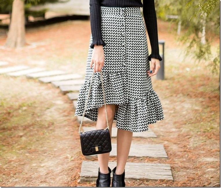 black-white-gingham-asymmetric-ruffle-skirt