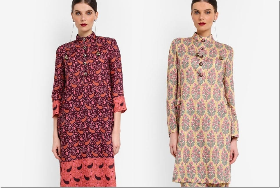 Bollywood-Inspired Mandarin Collar Kurung To Wear For Raya 2018