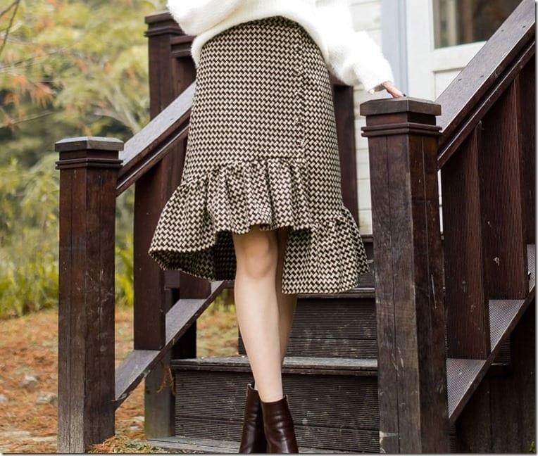 brown-ruffle-gingham-skirt