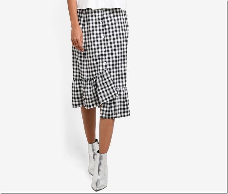 button-ruffle-gingham-midi-skirt