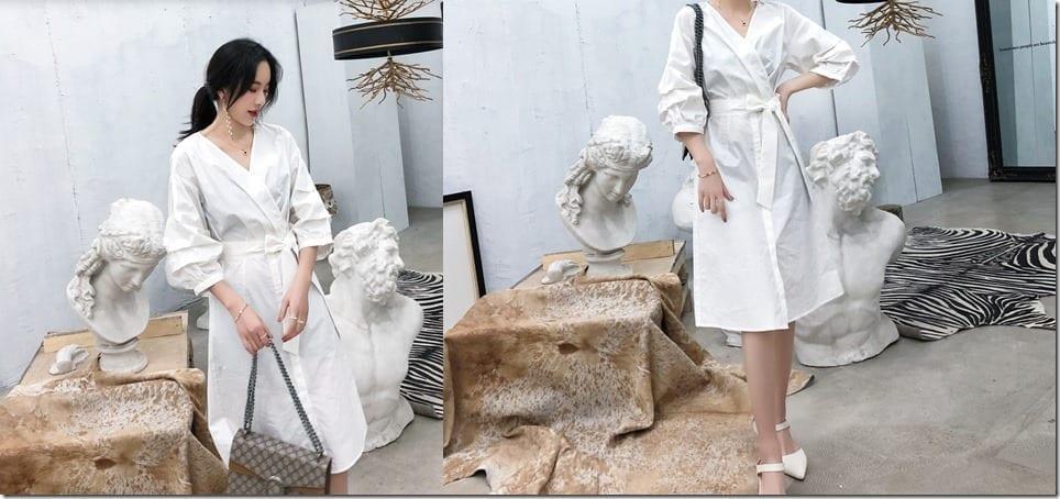 elbow-puff-sleeve-wrap-white-dress