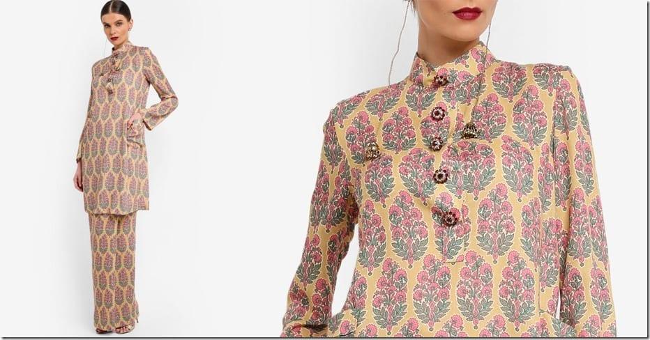 floral-print-cotton-mandarin-collar-kurung
