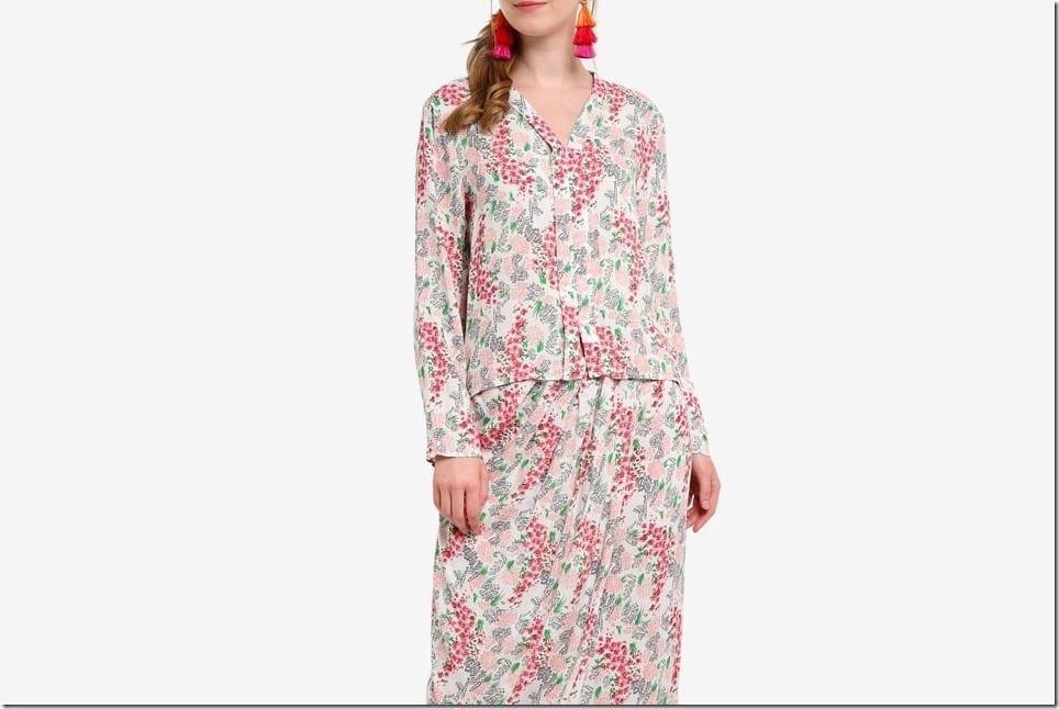 Floral High Low Flare Kebaya Style For Raya Fashion 2018