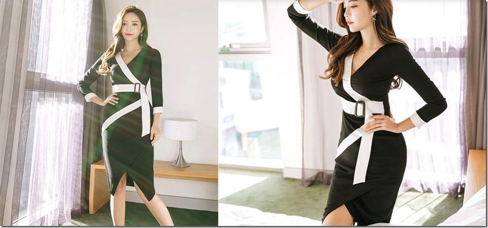 monochrome-v-wrap-long-sleeve-pencil-dress