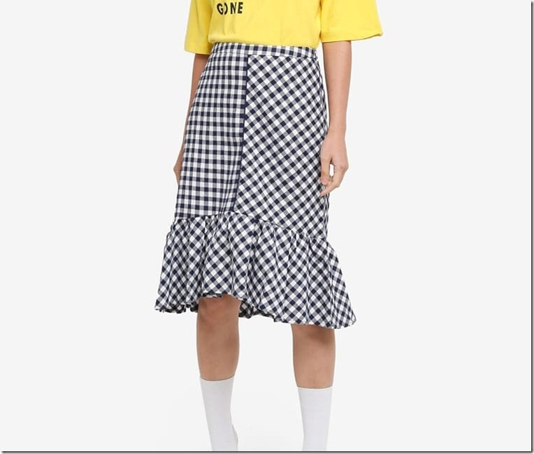 navy-ruffle-hem-gingham-skirt