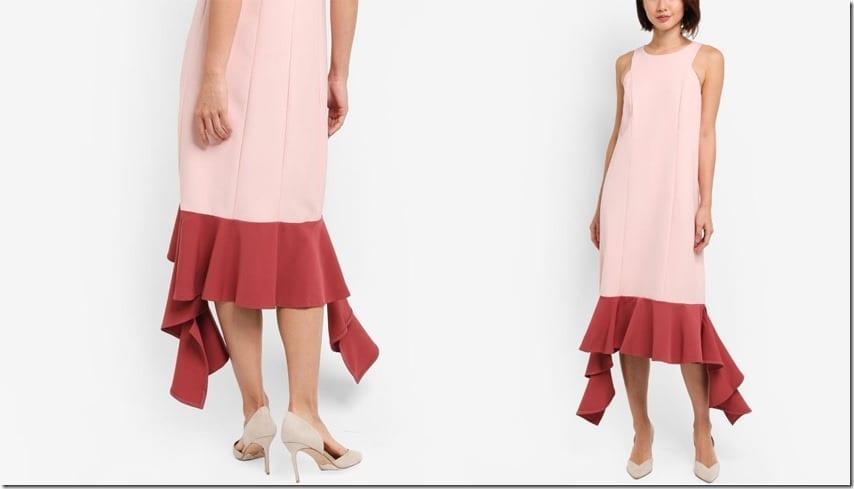 pink-uneven-hem-midi-dress