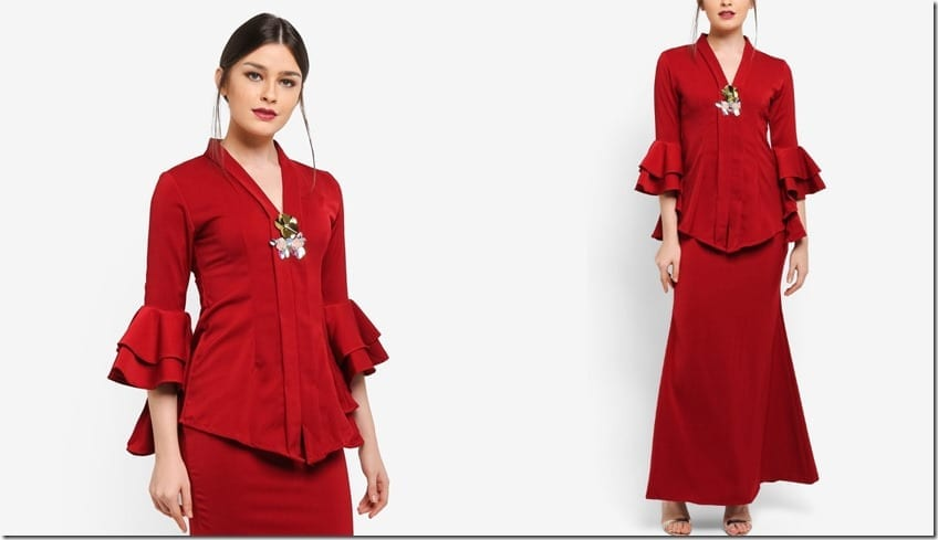 red-tiered-ruffle-sleeve-kebaya