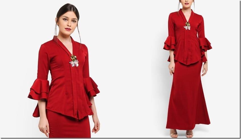 red-tiered-ruffle-sleeve-kebaya