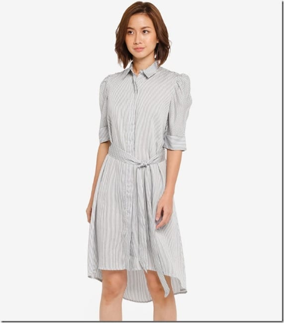 stripe-puff-sleeve-shirt-dress