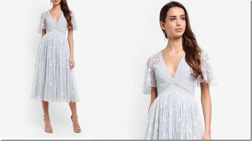 v-neck-floral-embellished-midi-dress