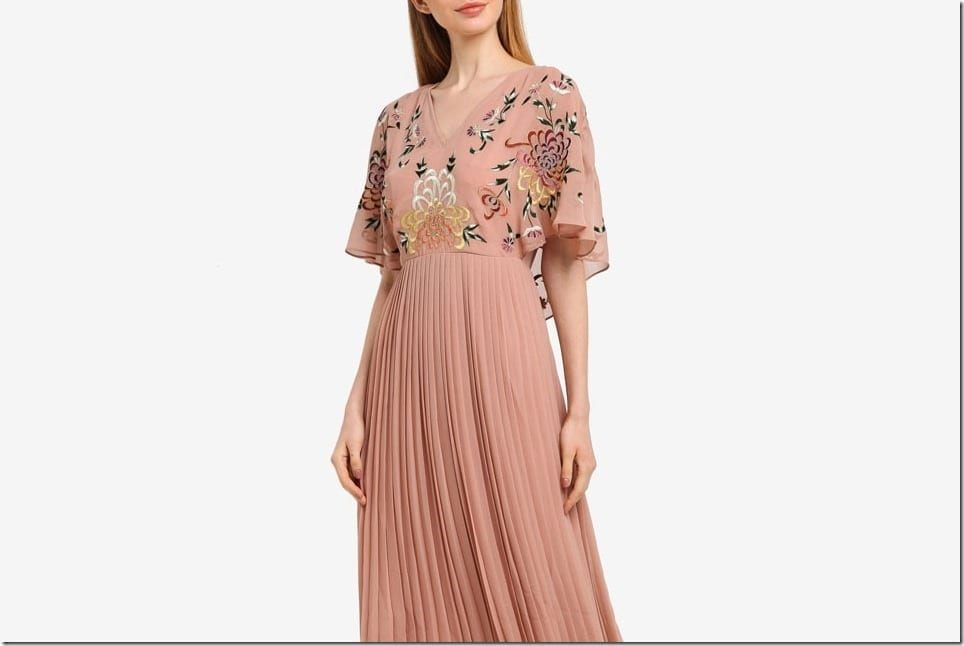 Embroidered V-Neck Midi Dresses For A Demure Party Look