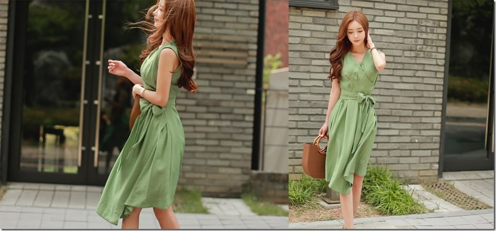 vneck-wrap-asymmetric-green-dress