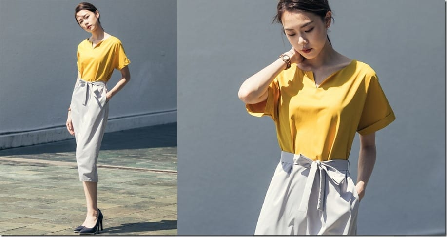 yellow-grey-color-block-midi-dress