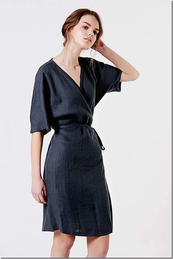 black-kimono-wrap-linen-dress