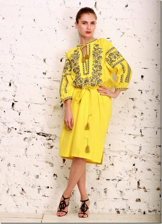 bright-yellow-embroidered-midi-dress