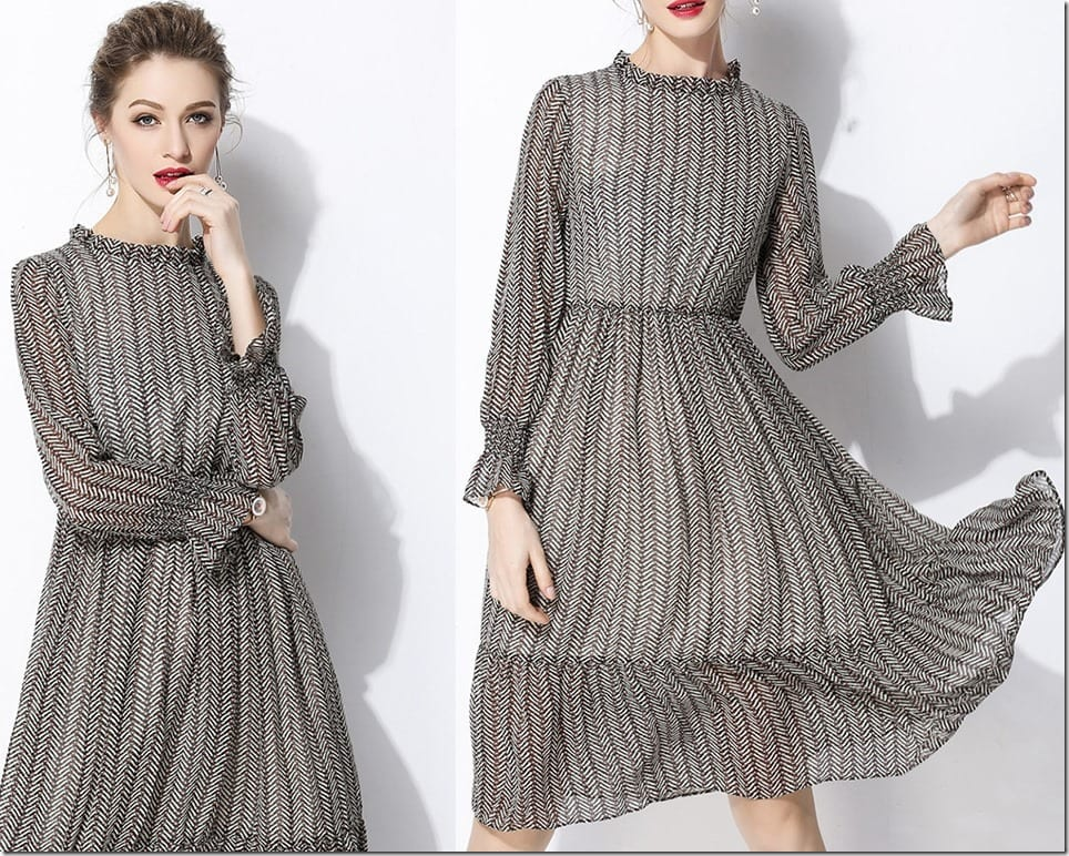 High Neck Swing Dress Styles For Alluring Feminine Expression