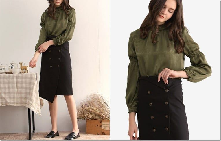 green-balloon-sleeve-blouse