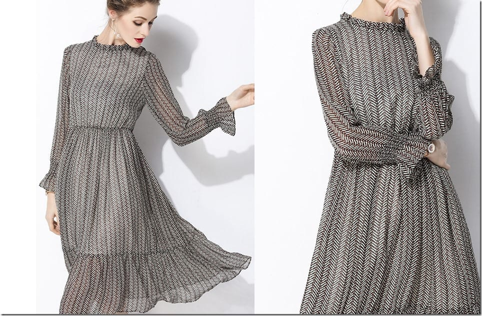 high-neck-trumpet-sleeve-swing-dress