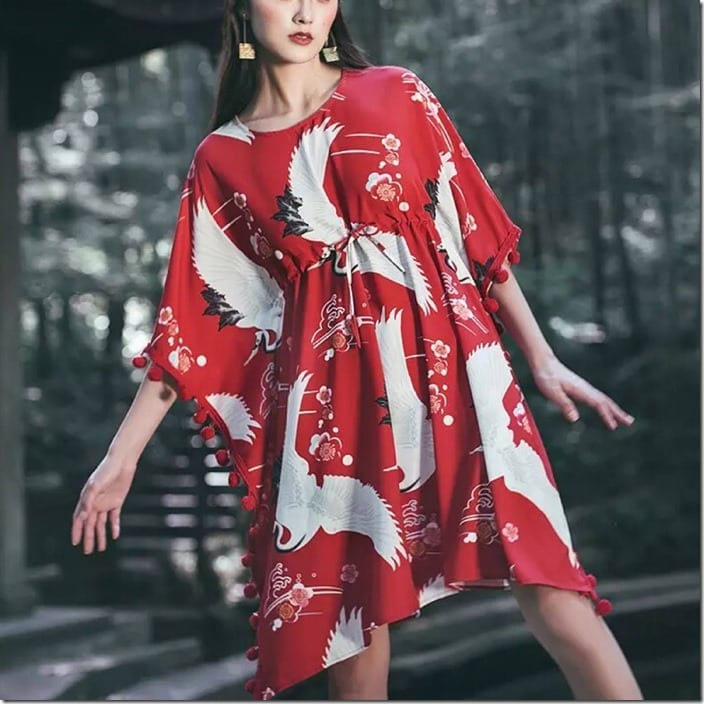 loose-fit-flying-crane-red-pompom-dress