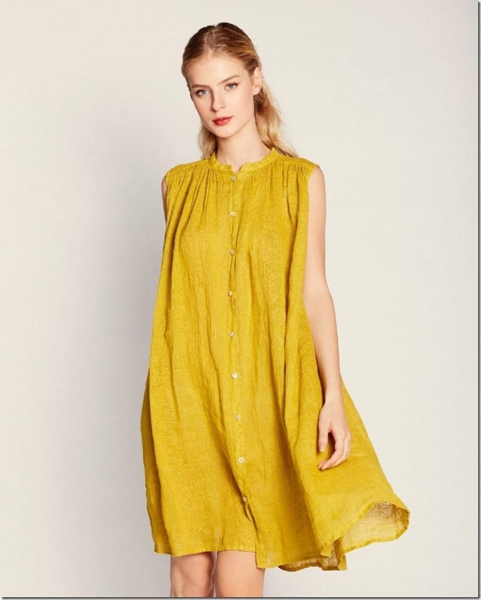 loose-high-neck-button-yellow-midi-dress