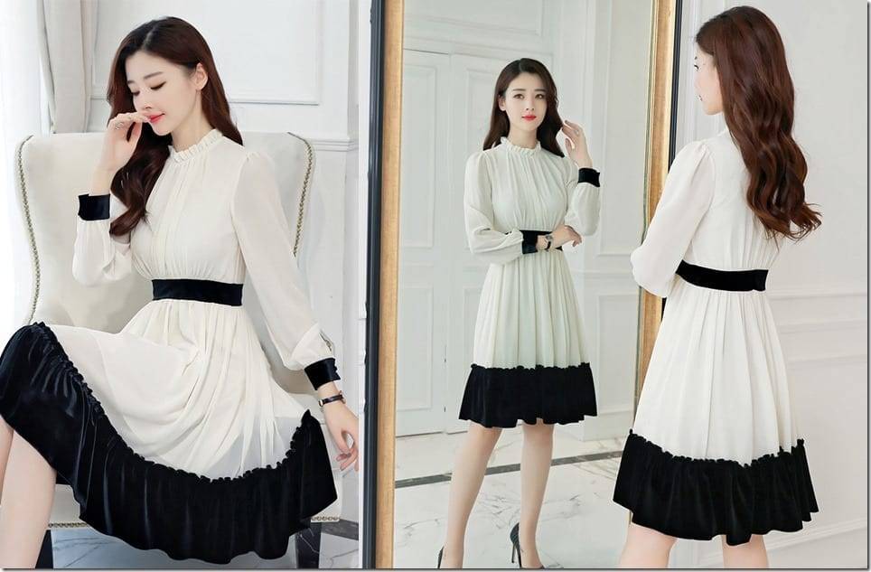 monochrome-high-neck-long-sleeve-swing-dress