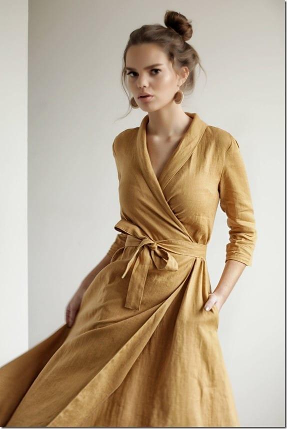 mustard-linen-wrap-dress