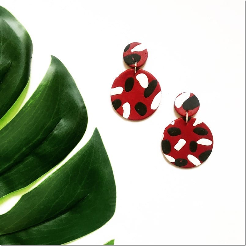 red-black-white-statement-clay-earrings