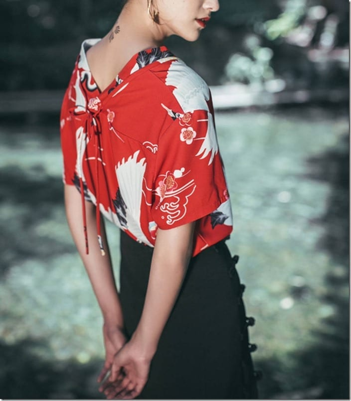 red-v-style-neck-crane-print-top