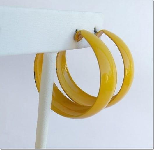 retro-large-yellow-enamel-hoop-earrings
