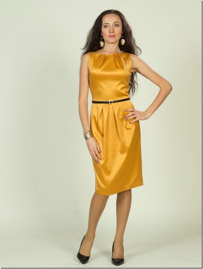 shiny-yellow-sleeveless-midi-pencil-dress