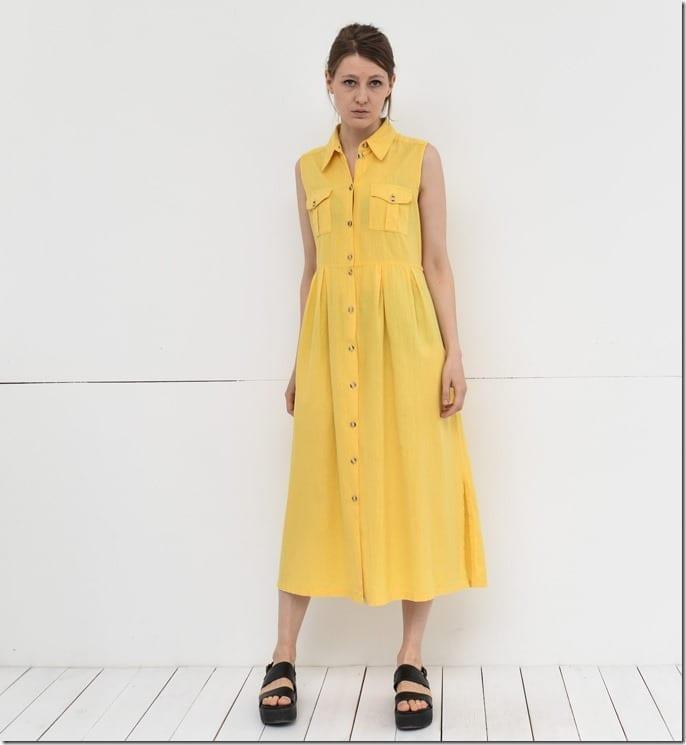 sleeveless-yellow-midi-shirt-dress