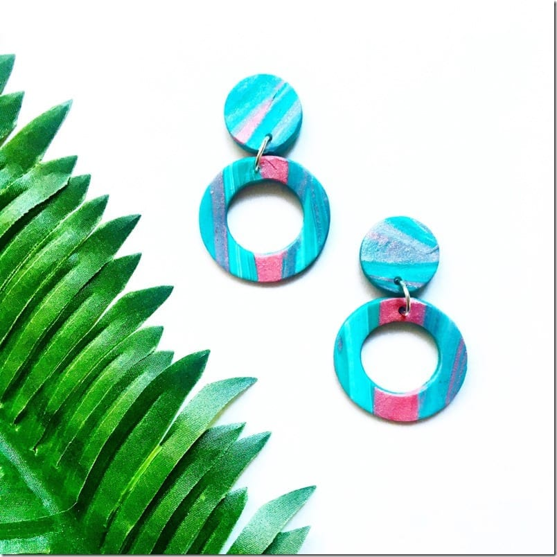 statement-blue-pink-circle-clay-earrings