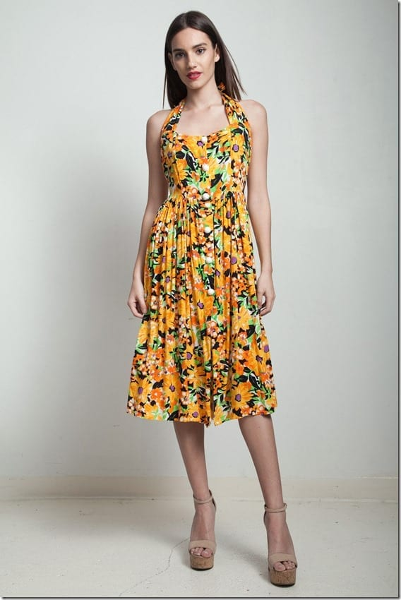 vintage-80s-halter-yellow-sunflower-dress