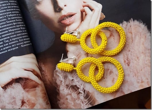 yellow-double-hoop-beaded-earrings