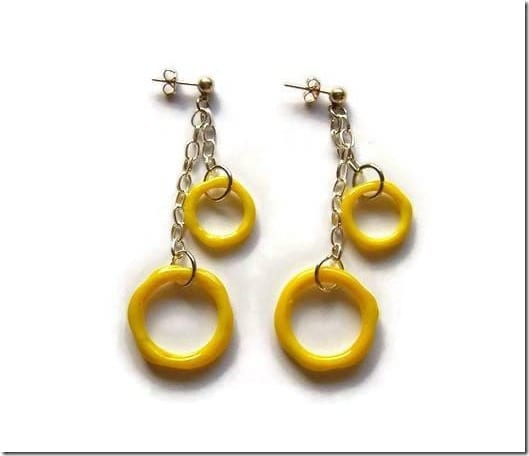 yellow-glass-hoop-dangle-earrings