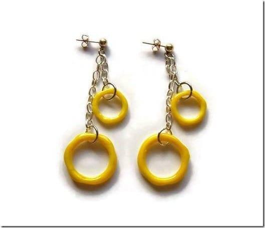yellow-glass-hoop-dangle-earrings