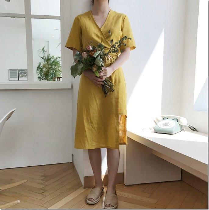yellow-linen-wrap-midi-dress