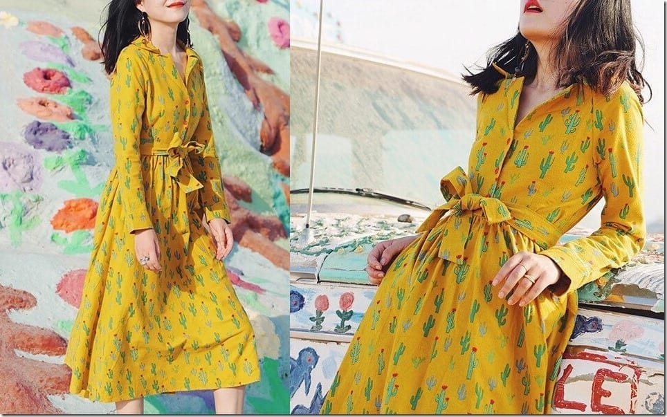 YELLOW Midi Dresses With Patterns For A Bold Nostalgic OOTD Vibe