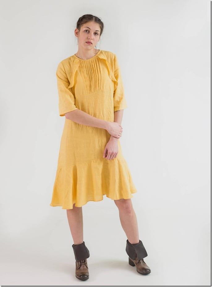 yellow-ruffle-flared-hem-midi-dress
