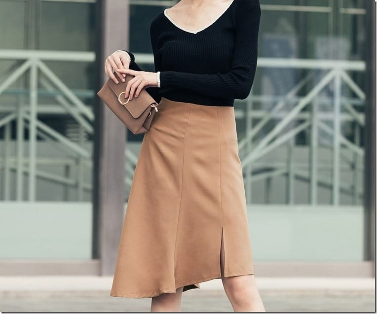 The Asymmetric Hem Midi Skirt With Split