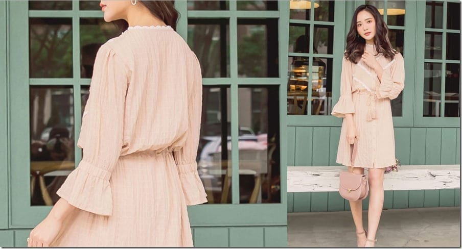 beige-button-up-trumpet-sleeve-dress