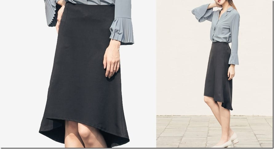black-asymmetric-hem-midi-skirt