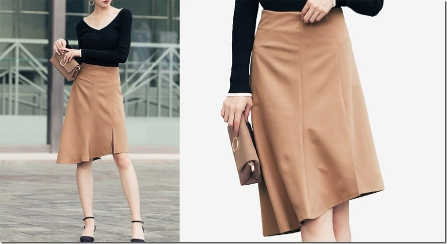 brown-asymmetric-hem-midi-skirt