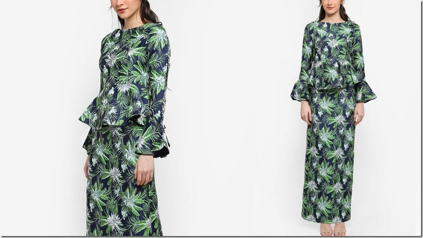 navy-tropical-boatneck-peplum-kurung